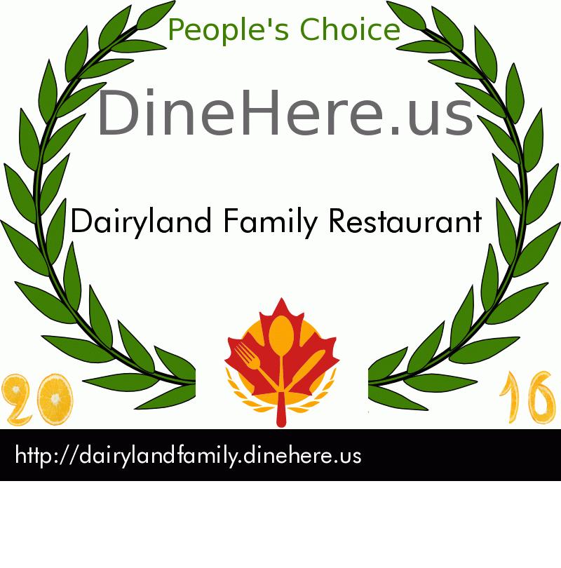 Dairyland Family Restaurant DineHere.us 2016 Award Winner